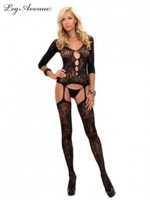 Floral Lace Suspender Bodystocking O/S BLACK
